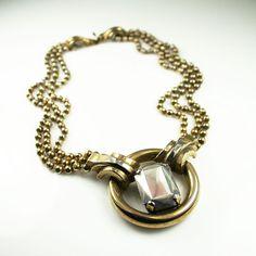Art Deco Revival Necklace Hematite Gold Tone Metal Ball Vintage Jewelry