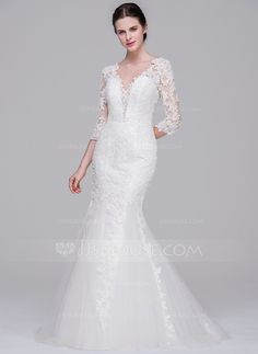 Trumpet/Mermaid V-neck Sweep Train Zipper Up Sleeves 3/4 Sleeves Church General Plus No Winter Spring Fall Ivory Tulle Lace Wedding Dress