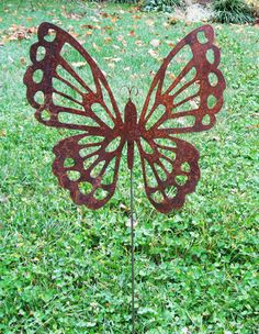 This handcrafted Butterfly garden stake will become a favorite in any yard. A charming way to add some elegance to your garden decor. Overall: 20w x 20.5H / Size does not include stake Approx. 27 inches - Size with stake Stake Attached or Hanging Accessory Attached * After you