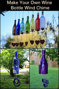Don't throw away your empty bottles; turn them into wind chimes! bottle crafts wind chimes Make Your Own Wine Bottle Wind Chime Wine Bottle Chimes, Glass Bottle Crafts, Wine Bottle Art, Recycled Wine Bottles, Painted Wine Bottles, Empty Bottles, Altered Bottles, Beer Bottles, Recycled Glass