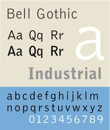 Bell Gothic. Company logo font of Umionia.
