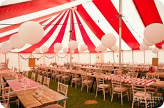 Circus wedding reception {via katforsyth.com} - see more at http://themerrybride.org/2014/07/06/vintage-circus-wedding/