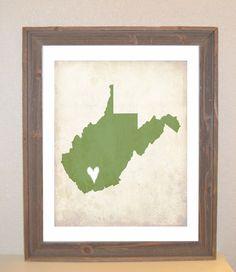 West Virginia Love State Customizable Art Print. $16.00 USD, via Etsy.