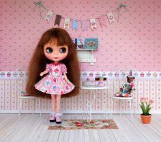 Blythe cupcake doll scene by Debby Emerson