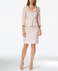 Tahari ASL Jacquard Bead-Trim Jacket Skirt Suit