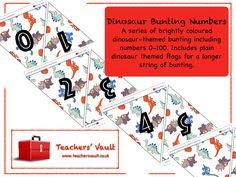 Dinosaur Bunting Numbers Display - EYFS, KS1, KS2 Dinosaur Maths Teaching Resources and Displays