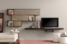 Modern Living Room Wall Units With Storage Inspiration : If you prefer a contemporary look to your living room, then storage furniture with a clean uncomplicated line is essential. Wall mounted units are a good option Living Room Wall Units, Bookshelves In Living Room, Living Room Cabinets, Living Room Modern, Home Living Room, Living Room Furniture, Living Room Decor, Wall Cabinets, Wall Unit Designs