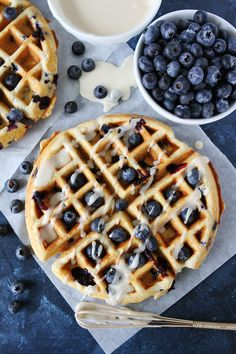 Blueberry Sour Cream Waffles with Maple Glaze. Blueberry Sour Cream Waffles with Maple Glaze Recipes These light and fluffy Blueberry Sour Cream Waffles with a sweet maple glaze are perfect for breakf. Blueberry Waffles, Blueberry Recipes, Pancakes And Waffles, What's For Breakfast, Breakfast Dishes, Breakfast Recipes, Breakfast Casserole, Breakfast Waffles, Mexican Breakfast