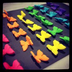 Rainbow fondant butterflies Fondant Butterfly, Butterfly Party, Cupcake Art, Cupcake Cakes, Cupcakes, Birthday Cake For Mom, Birthday Parties, Peace Cake, Making Fondant