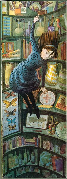 From Alice in Wonderland (2009)  In retelling this classic story, Chichester Clark was fulfilling a lifelong ambition to illustrate a character that as a child she aspired to be. Her imagery of Alice owes much to the original Tenniel illustrations. Here, Alice falls slowly down a rabbit hole that looks like an eccentric collector's den.