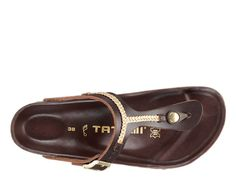 "Tatami Birkenstock ""Gizeh"" Brown + Bronze Chain Leather Sandals"