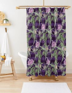 off sitewide for members only. Don't ho-ho-hold back. Turquoise Bathroom, Striped Shower Curtains, Purple, Pink, Stripes, Flowers, Purple Stuff, Pink Hair, Royal Icing Flowers