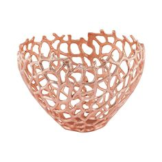 $150.00 Dimond Home Eissee 10-Inch Bowl In Copper Inspired by the beauty of Fan Coral radiating across the sea floor, we've proudly created our Eissee Collection Decorative Bowl: Beautifully variegated branches imitate actual coral patterns, while the piece's openwork design offers a full view of adorning accessories. Perfect to add glam and visual interest to a high-concept entryway.