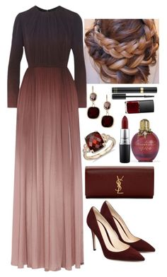 A fashion look from December 2015 featuring long evening gowns, suede pumps and man bag. Browse and shop related looks. Modest Fashion, Hijab Fashion, Fashion Dresses, Fashion Clothes, Polyvore Outfits, Look Fashion, Womens Fashion, Fashion Tips, Female Fashion