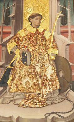 Juan de la Abadía, San Vicente de Labuerda. Retablo detalle del santo titular, 15e s.   Huesca, España