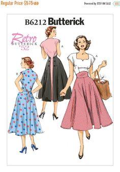 6212, Butterick, Vintage 50s, Sweetheart neckline, Retro Rockabilly, 50's Cocktail Dress ,Flared Dress, Circa 1952, Happy Days,