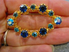 """Stunning Blue Austrian Crystal & Gold Tone Brooch Pin Signed """" Made In Austria """" by Irefuse2growup on Etsy"""