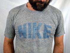 RARE Vintage Triblend Rayon Gray Distressed Nike Blue Tag Tee