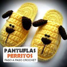 Cómo tejer pantuflas para niños con carita de perro, paso a paso en español