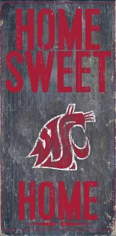 """Washington State Wazzu Wall Art. This Washington State wooden sign measures 6"""""""" x 12"""""""". This Washington State University Cougars WSU decoration is painted in team colors and includes a vintage distres"""