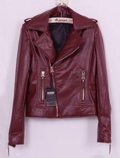 Wine Red Leather Coat... i sooo want!