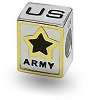 Bling Jewelry Patriotic Us Army Charm 925 Sterling Silver Black Enamel Star Military Bead.