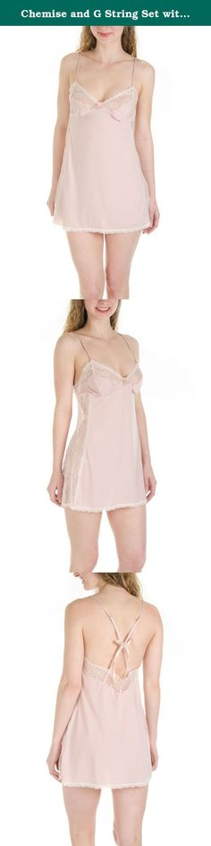 Chemise and G String Set with Criss Cross Bow Strap Back (Large, Peach). This is a very classy chemise and g string set. The body is very smooth like satin and has a lace lining on the sides and all around the borders. The back is low and has a criss cross strap with a bow detail. Great addition to your sexy sleepwear.