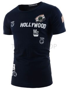 (CLIST07-NAVY) Mens Slim Logo Printed Patched Embroidery Short Point Sleeve Tshirts