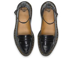 Built on slim, pointed last drawn from our archives, this lithe loafer is an instant icon. We've added and ankle strap for a sexy twist on the tailored classic and crafted it in our signature smooth leather, but with a new glossy polish. Yellow stitching at the welt lends it a bit of Dr. Martens irreverence.
