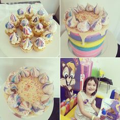 Rainbow unicorn cake & cupcakes + happy bday girl! #cupcake jemma recipe