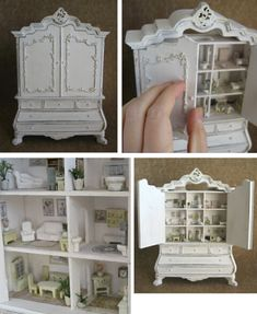 1/12 scale - Beautiful cabinet with       1/144th scale 9 dollhouse rooms