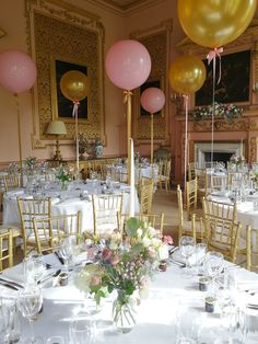 This is what happens when balloons go baroque! We're a little bit in love with our pink and gold giant balloons at the splendidly sumptuous Stanford Hall in Leicestershire Bubble Balloons, Giant Balloons, Confetti Balloons, Bubbles, Balloon Decorations, Table Decorations, Country House Wedding Venues, Wedding Balloons, 60th Birthday