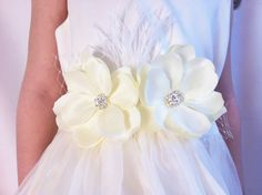 Little Girl Dress Sash Two Cream Colored Flowers by Littlezozo, $25.00
