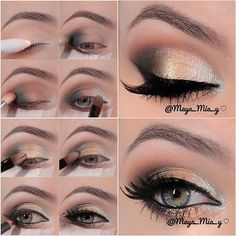 eyeshadow tutorial, I'm gonna try this with my new oreal what happens in vegas pallette, adding a glittery gold to the middle and substituting the grey for the deep brown of the pallette