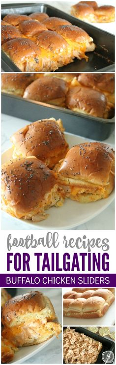 Football Recipes for Tailgating Buffalo Chicken Sliders! Game day tailgating party recipes! Take these to your favorite football games and parties!