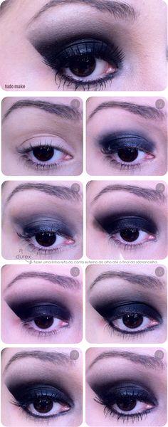 make up, make up, diy All Things Beauty, Beauty Make Up, Diy Beauty, Makeup Eyeshadow, Makeup Cosmetics, Hair Makeup, Glam Rock, Cat Eye Tutorial, Black Makeup