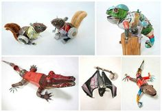"""#Animals, #Metal, #Plastic, #Recycled, #Scrap, #Sculpture, #TrashArt The Japanese artist Natsumi Tomita creates those tiny animal sculptures using trash. """"Little Forest"""" is a series of sculptures created with found objects on the streets. Using anything from a broken umbrella and discarded cans to motorcycle parts,"""