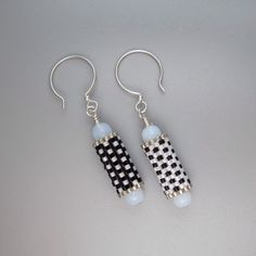 Black and white & silver bead tube earrings