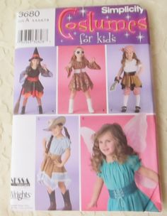 Simplicity 3680 Sewing Pattern Witch, Pirate, Cowgirl, Fairy, Hippie, Costumes Child's Size A 3-8