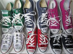 Swagstamp monogrammed converse as seen on Today show--white are for Kathie Lee and black are Hoda Monogram Converse, Bat Mitzvah Dresses, Show White, Monogram Decal, Thirty One Gifts, Today Show, Chuck Taylor Sneakers, Monograms, Preppy