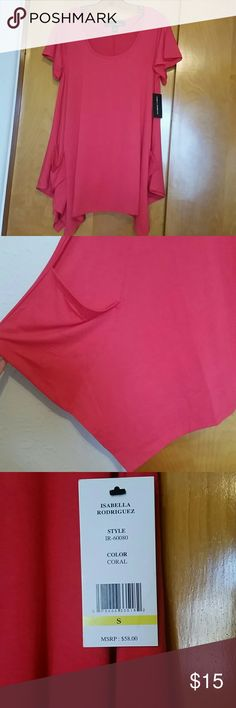 Short Sleeve Tunic Isabella Rodriguez short sleeve tunic, size small, with pockets. Coral in color, is a dark coral, more pinkish. NWT Isabella Rodriguez  Tops Tunics