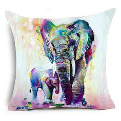 Watercolor Elephant Pillow Case