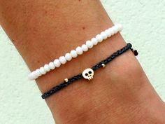 Tiny skull bracelet - 16 k gold plated skull bead on waxed nylon cord
