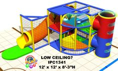 "Do you have a low ceiling? This indoor playground is only 8'-3"" high. Great for a church, children center, medical office, restaurant. At International Play Company we design, manufacture, ship and install indoor playground equipment and interactive play solutions. Iplayco installs worldwide. Make your business family friendly by adding a fun play area for the children."