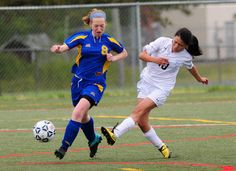 Cape's Stephanie Mendez shoots on goal despite the defense by Sussex Central's Nicole Lebedz in the Vikings' 4-0 Henlopen Conference win. Click soccer photo to read entire sports article: Cape girls soccer gets balanced scoring in 4-0 win over Knights