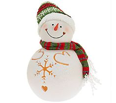 Winter Snowman Luminary with Flameless Candle by Home Reflections