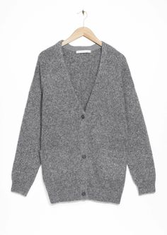 grey wool-blend cardigan #stories