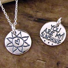 You Are My Sunshine Necklace - Sun Charm - You Are My Sunshine Jewelry by HANNI on Etsy https://www.etsy.com/listing/94104132/you-are-my-sunshine-necklace-sun-charm