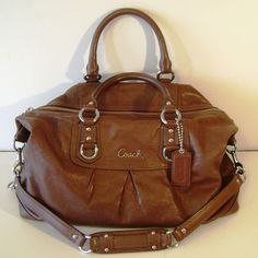 Coach 15447 Ashley Large Leather Satchel Handbag Walnut Brown
