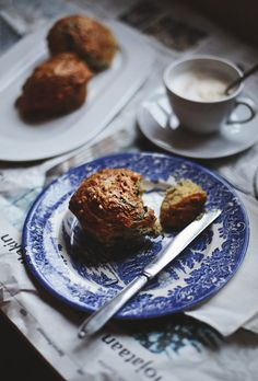 Muffins with smoked cheese and fresh spinach for breakfast.